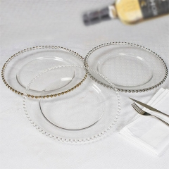 beaded glass charger plate for wedding in FEIBIXUAN